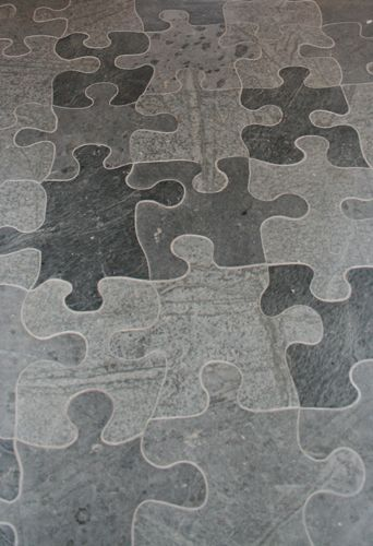 Puzzle piece floor. This is soapstone!