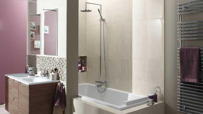 La salle de bain devient un écrin de douceur Aubergines, Douches - Peindre Carrelage Salle De Bains