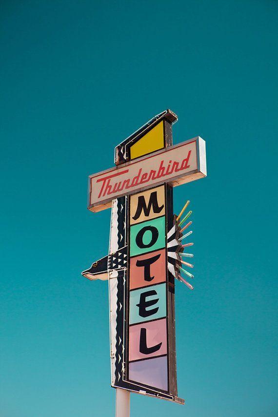 Photo of Reno Thunderbird Motel Sign, Mid Century Modern Art, Neon Sign Print, Pastel Home Decor, Retro Office Art, Neon Sign Art, Motel Print