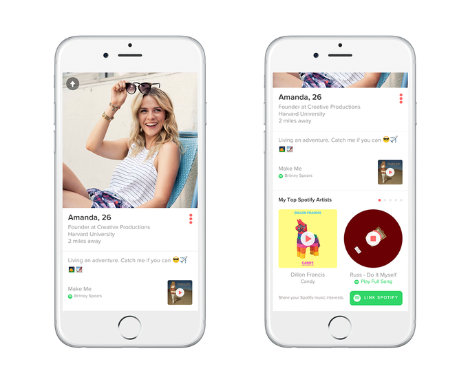 Tinder Taps Spotify To Let You Add Music To Your Profile Techcrunch Tinder Match Tinder Spotify