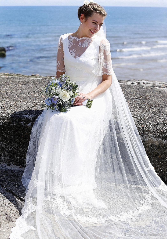 Alencon Lace Bridal Veil Soft Tulle Chapel Floor Length Wedding Veils With Comb Bride Hair Accessories