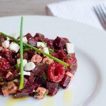 Beetroot, feta, and raspberry salad