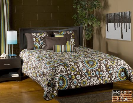 Cosmos Bedding Features A Popular Color Pattern Of Turquoise And Brown With White And Lime Green A Comforter Sets Queen Comforter Sets Modern Bedding Comforter
