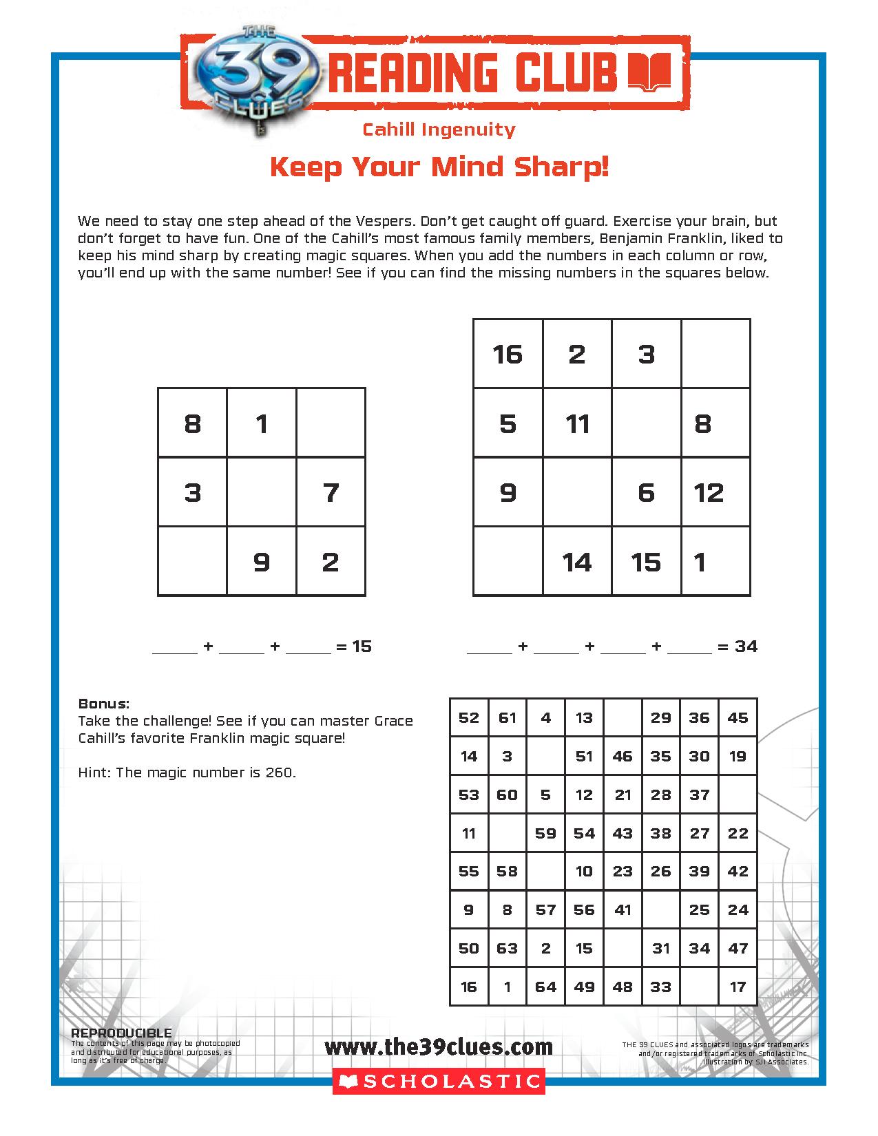 worksheet magic squares worksheet grass fedjp worksheet study site. Black Bedroom Furniture Sets. Home Design Ideas