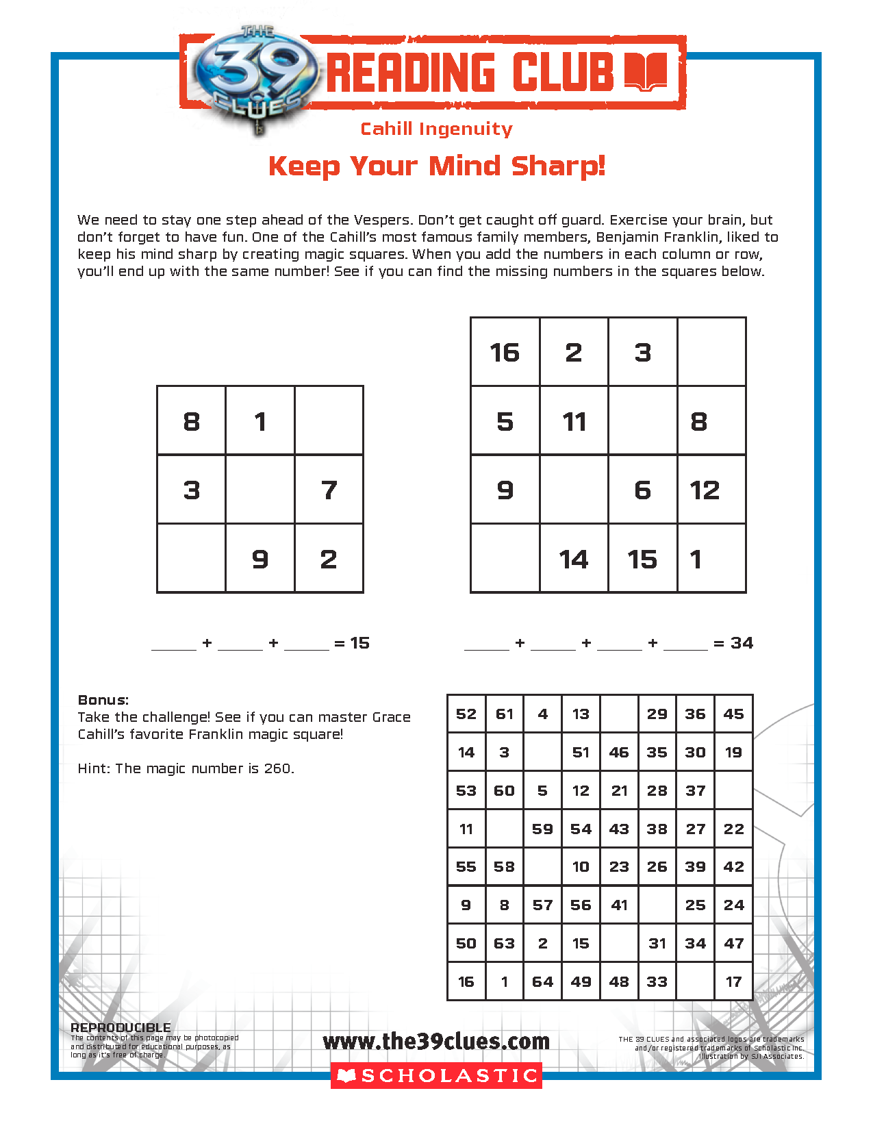 Free Magic Square Activity Sheet From The 39 Clues Reading