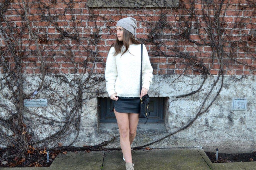 knits + mini skirts