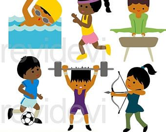 50 off sale summer olympic dark skin kids clipart sport clip art rh pinterest com olympic clip art free olympic rio clipart