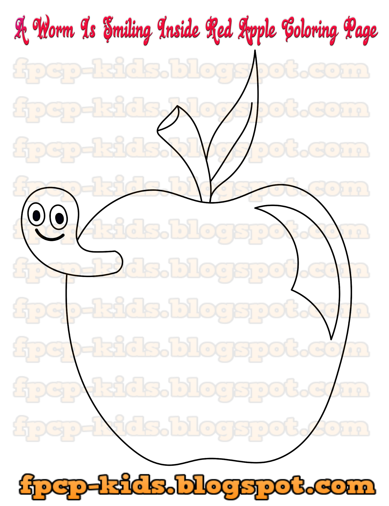 A Worm Is Smiling Inside Red Apple Coloring Page