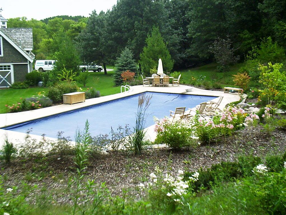 Interesting Idea For Inground Pool Landscaping | Inground ... on Backyard Inground Pool Landscaping Ideas id=65859