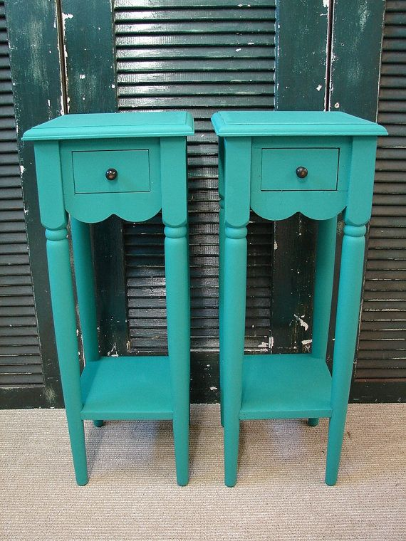 Tirquoise End Table Small Reclaimed Turquoise Paint 1 Dr Tall Accent Side Tables