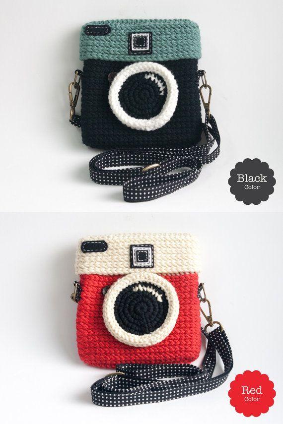 Häkeln Sie Lomo Kameratasche / schwarze Farbe, #crochetmonederos #farbe #hakeln #Kameratasche... #camerapurse