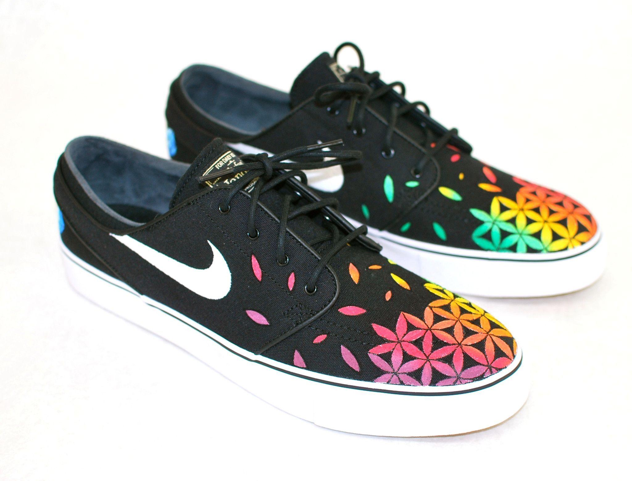 58f1b5cdbb90 Custom Hand Painted Nike Zoom Stefan Janoski Sneakers - Rasta Sacred  Geometry Flower of Life pattern
