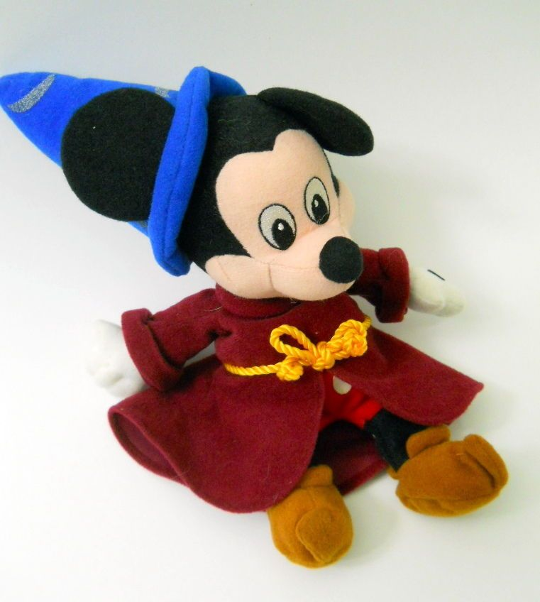 Disney Mickey Mouse Wizard Plush 8 In. Fantasia Blue Hat Dark Red Robe  Shorts a96f1aa9190