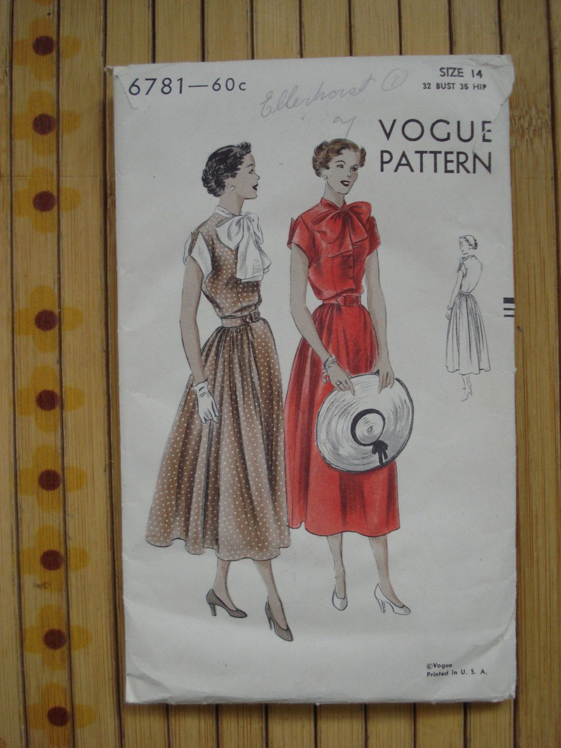 Vintage 1940s Vogue Pattern Vogue 6781 Dress Sewing от bycinbyhand