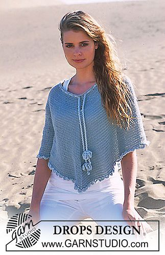 6060 Crocheted Poncho Pattern By DROPS Design Crochet Poncho Inspiration Crochet Poncho Pattern Ravelry