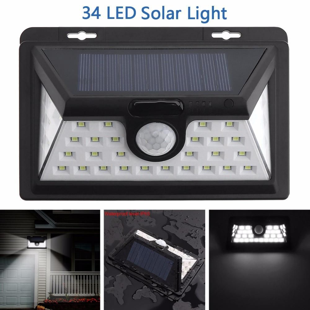 10 LED Solar Light Motion Sensor IP44 Waterproof 3 Modes Switch Wall Lamp