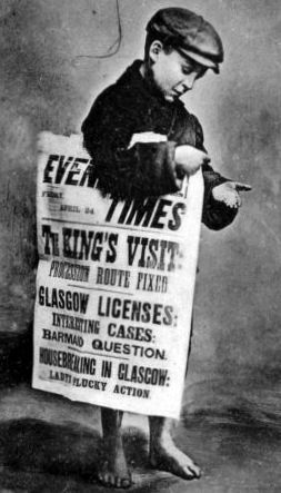 Old Photograph Of A Boy Selling Newspapers In Glasgow Scotland Glasgow Old Newspaper Delivery Jobs