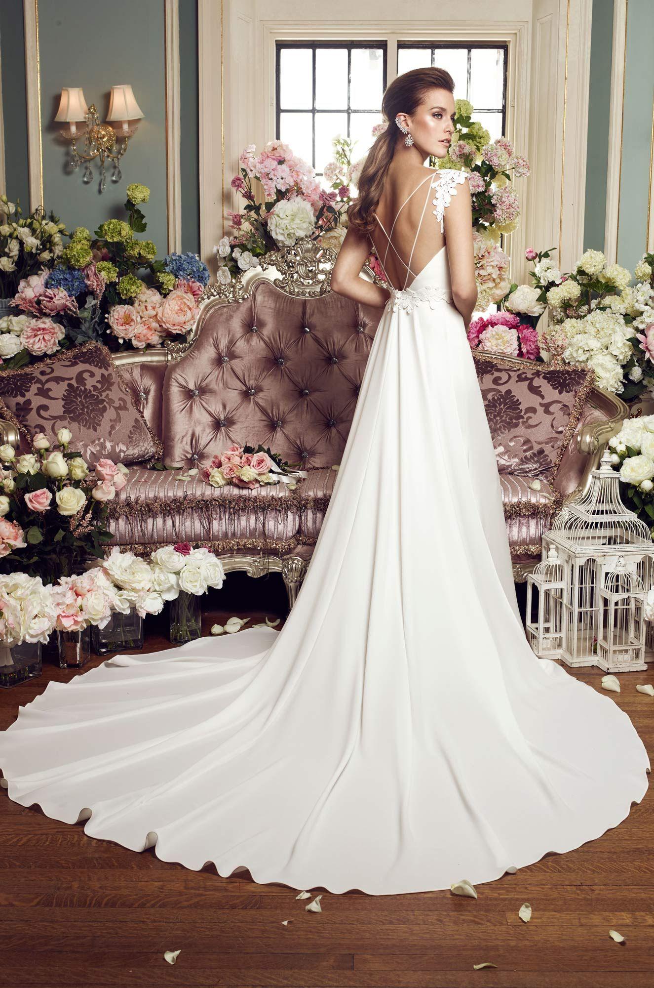 Detachable train wedding dress style mikaella bridal