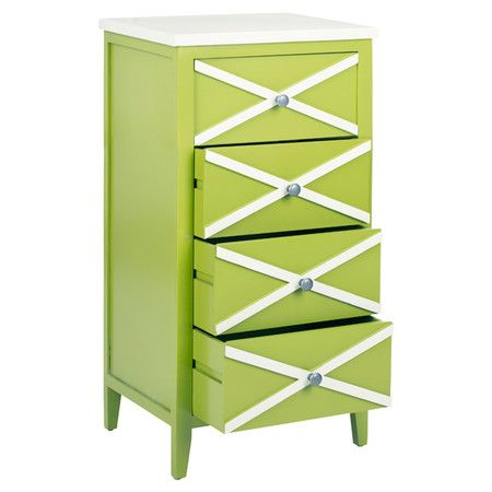 Green poplar side table with a criss-cross design.   Product: Side tableConstruction Material: Poplar woodColor: Green and whiteFeatures: Four drawersDimensions: 35.4 H x 18 W x 14.9 D