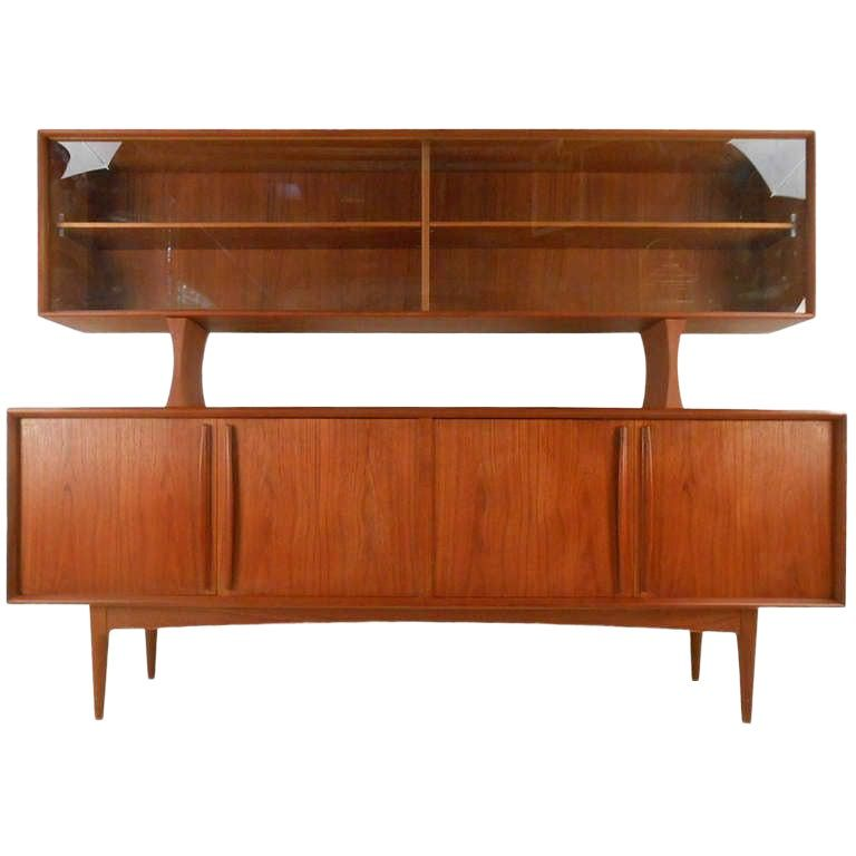 Mid Century Danish Teak Sideboard With Top Display Shelf In 2020 Danish Teak Sideboard Teak Sideboard Danish Mid Century Sideboard