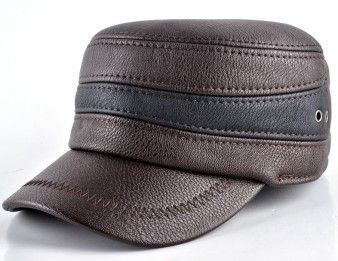 a69a02befa9 2015 Fashion mens winter warm hat military style cap with ear flaps leather  russia flat top