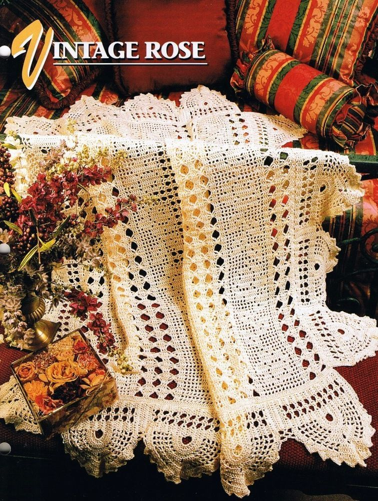 Vintage Rose Annie\'s Attic Crochet Afghan Pattern Instructions ...