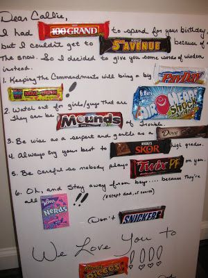 Candy Bars To Use For Birthday Cards Candy Bar Card That I