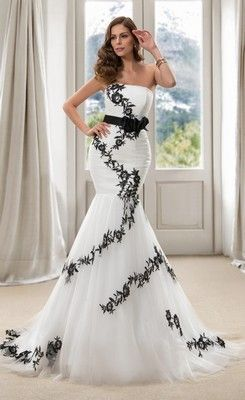 Trendy Strapless Long Sash Black Mermaid Wedding Dress