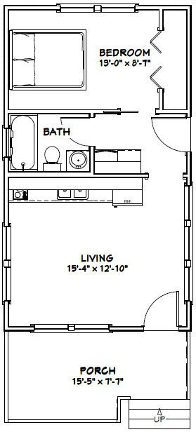 16x28 tiny house 16x28h1e 447 sq ft excellent for Small house floor plans with garage