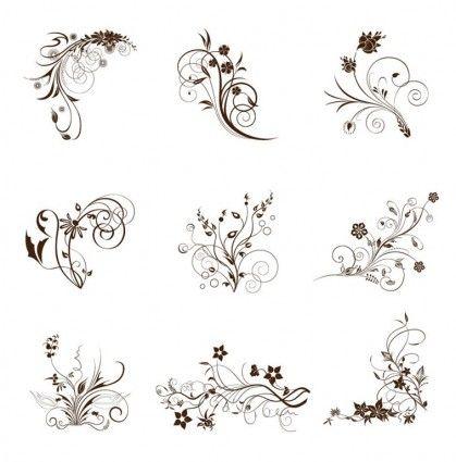 Vector Illustration Set Of Swirling Flourishes Decorative Floral Elements 236719 Jpg 419 425 Free Vector Art Graphic Design Art Free Vector Illustration