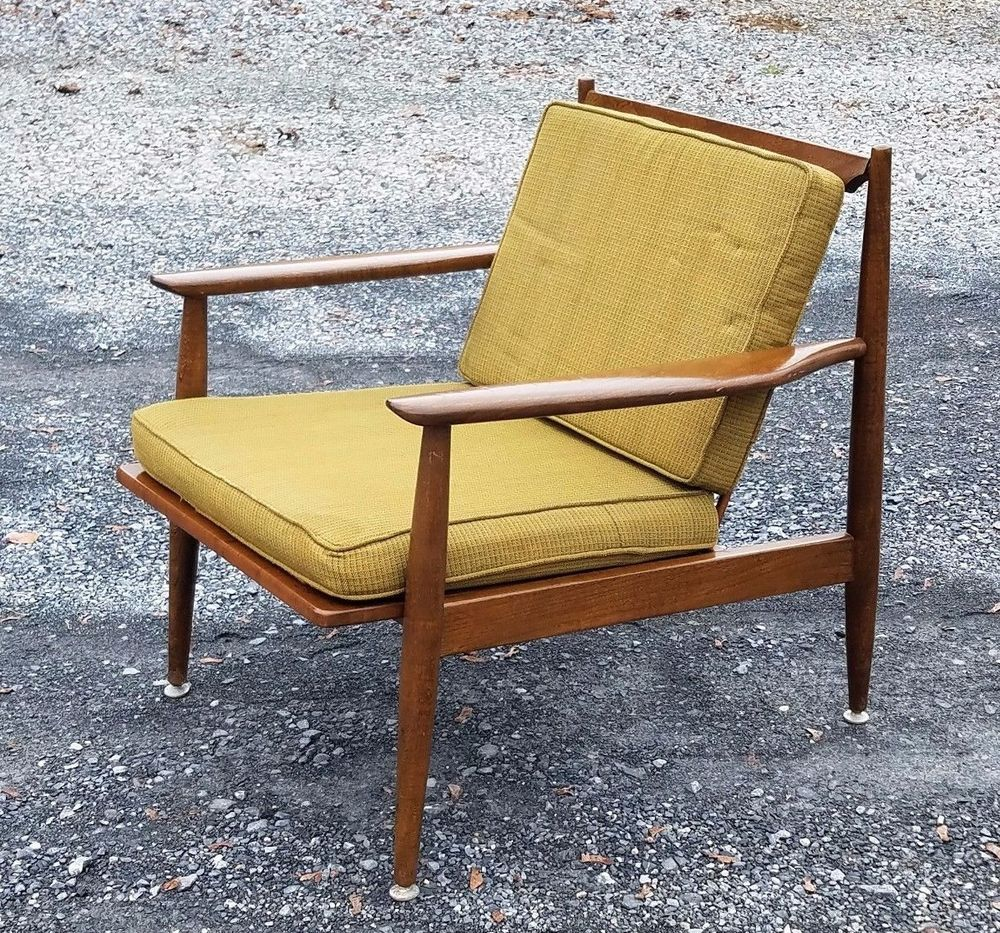 Vintage Mid Century Danish Modern Lounge Chair Walnut Wood