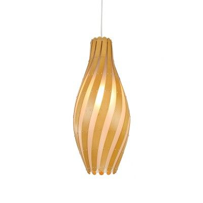 Vase Shape Modern Style Pendant Light with Wooden Shade