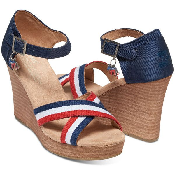 Election Charms Women's Strappy Wedges (2,635 INR) ❤ liked on Polyvore featuring shoes, sandals, wedge heel sandals, red wedge shoes, red white and blue sandals, strap sandals and strappy sandals