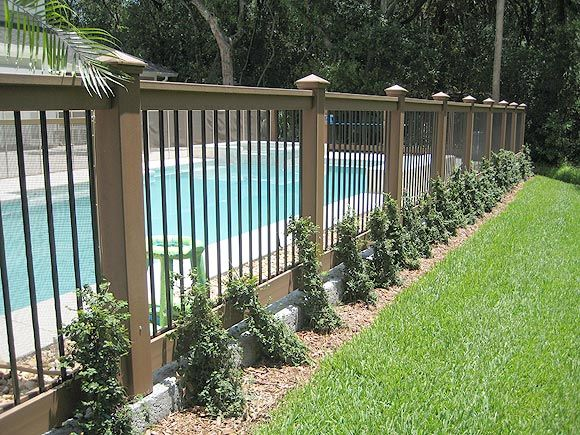 Vinyl Composite Fence Backyard Pool Landscaping Backyard Fences Backyard Design