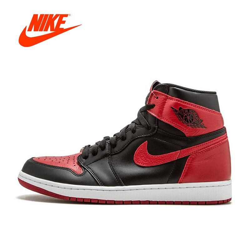 d178428a5545 Original New Arrival Official Nike Air Jordan 1 OG Banned AJ1 Breathable  Men s Basketball Shoes Sports Sneakers