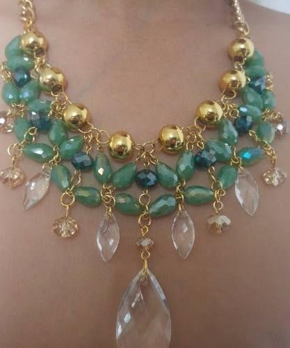 a231838c4fe2 Set Collar Y Aretes De Perla Y Cristal Moda Bisuteria Fina -   195.00