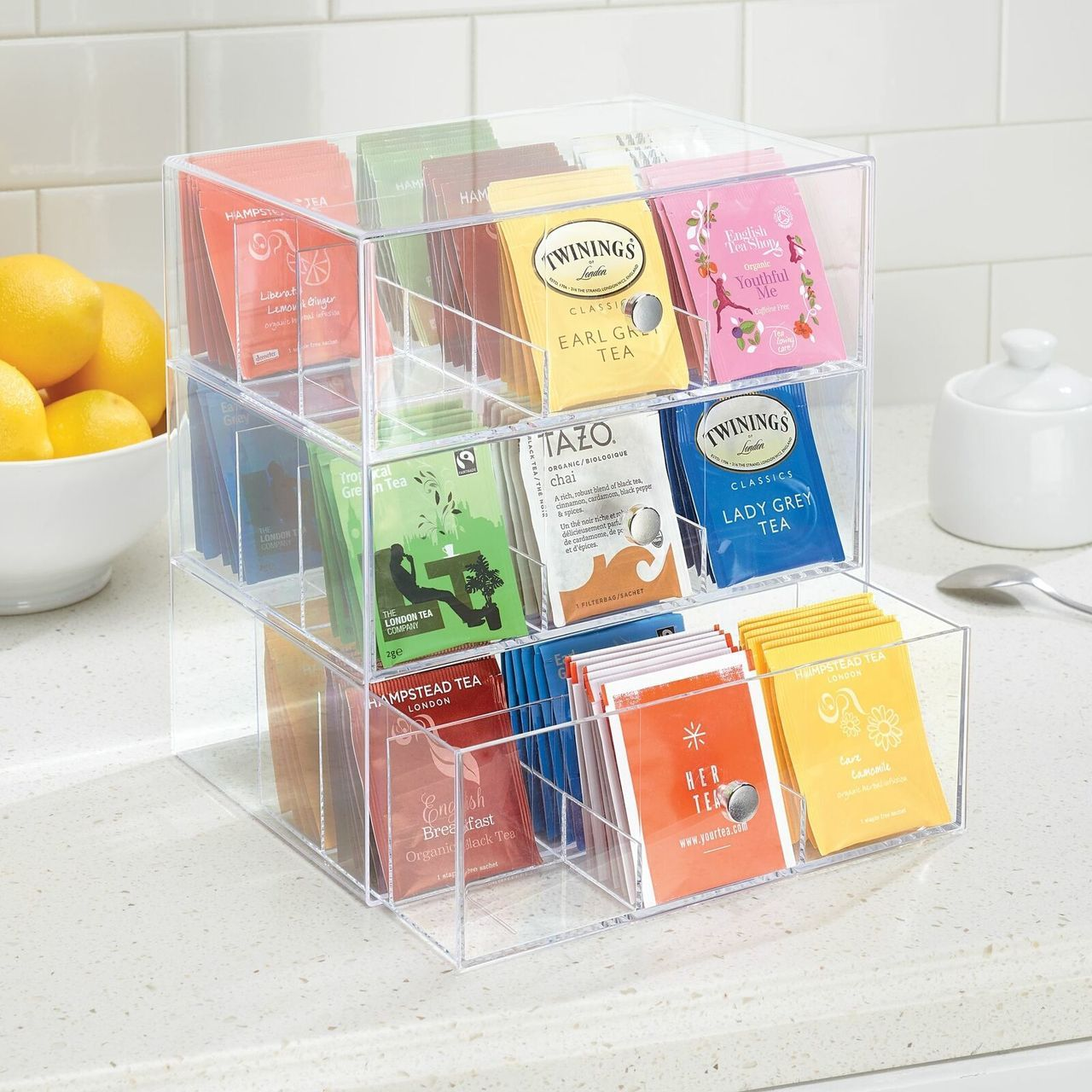Tea Bag Holder and Condiment Accessory Organizer Box in Cream/Clear, by mDesign