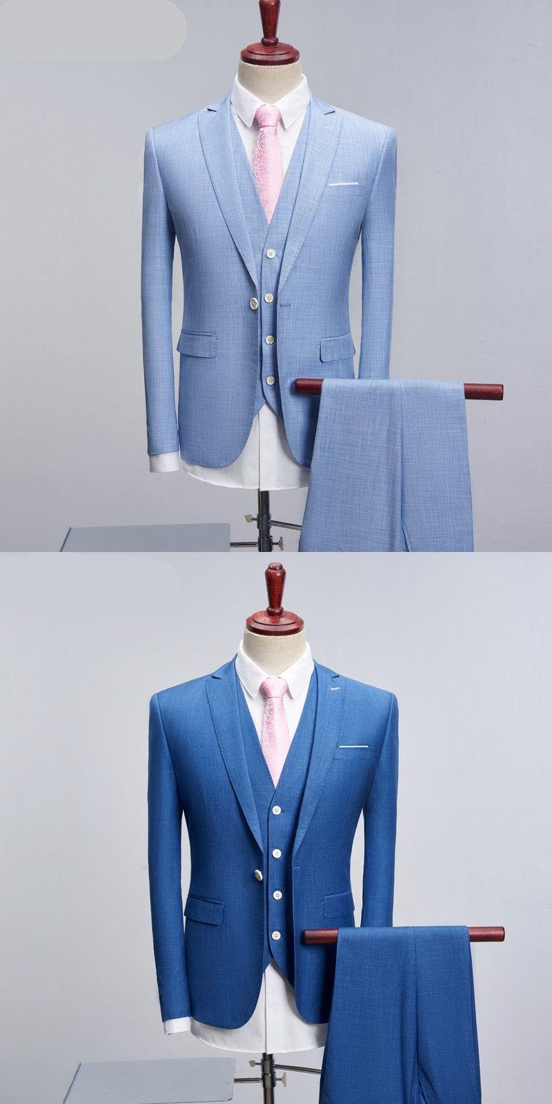 Men 3 Pieces One Button Luxury Suits Casual Slim Fit Jacket Pant ...
