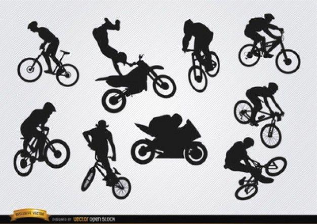 bmx bicicleta conjunto silhuetas vetor fernando pinterest bmx