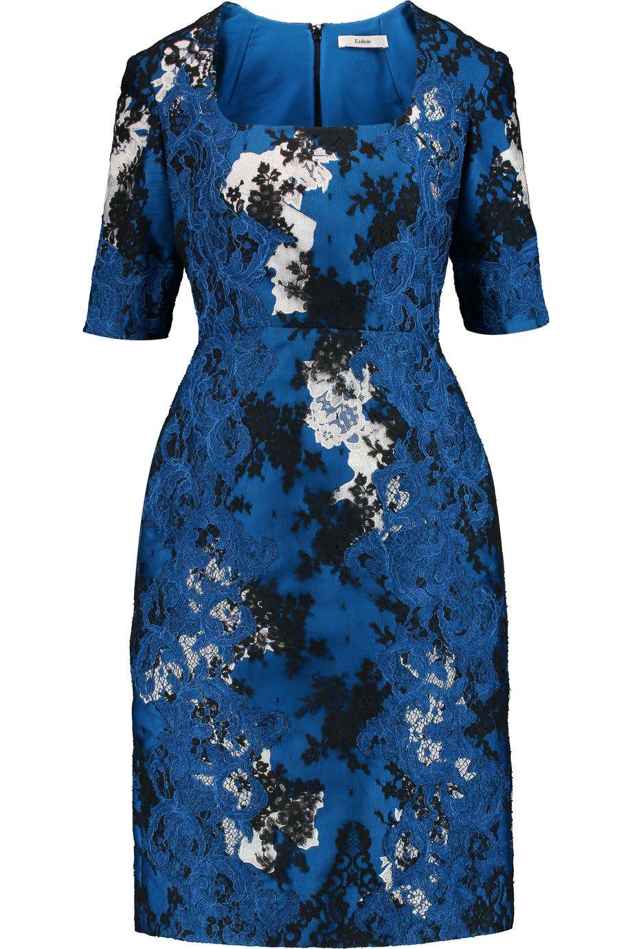 Lace dress royal blue  ERDEM Sophia SatinTwill And Corded Lace Dress erdem cloth dress