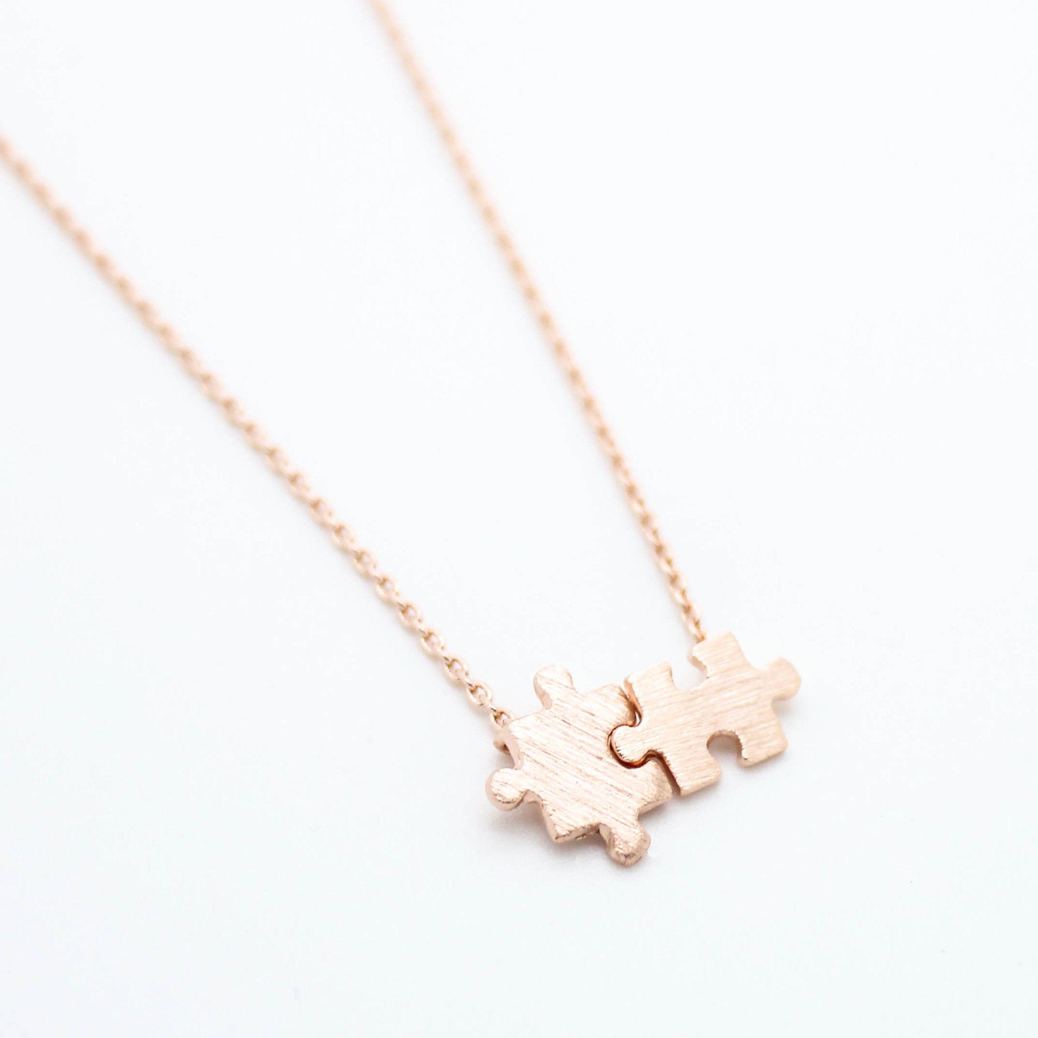 Puzzle pieces necklace pinterest puzzle piece necklace