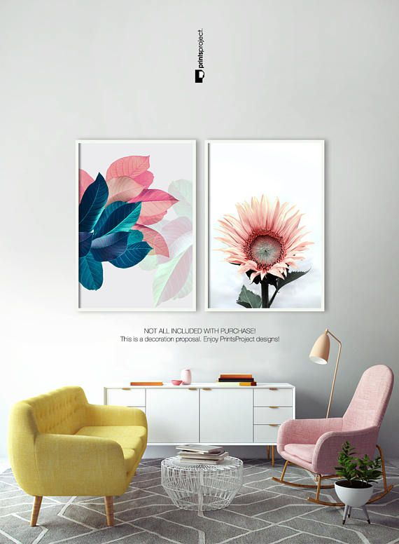 Flower Print Blush Pink Wall Art Sunflower Floral Poster Home - Decorative-floral-print-chairs-from-floral-art