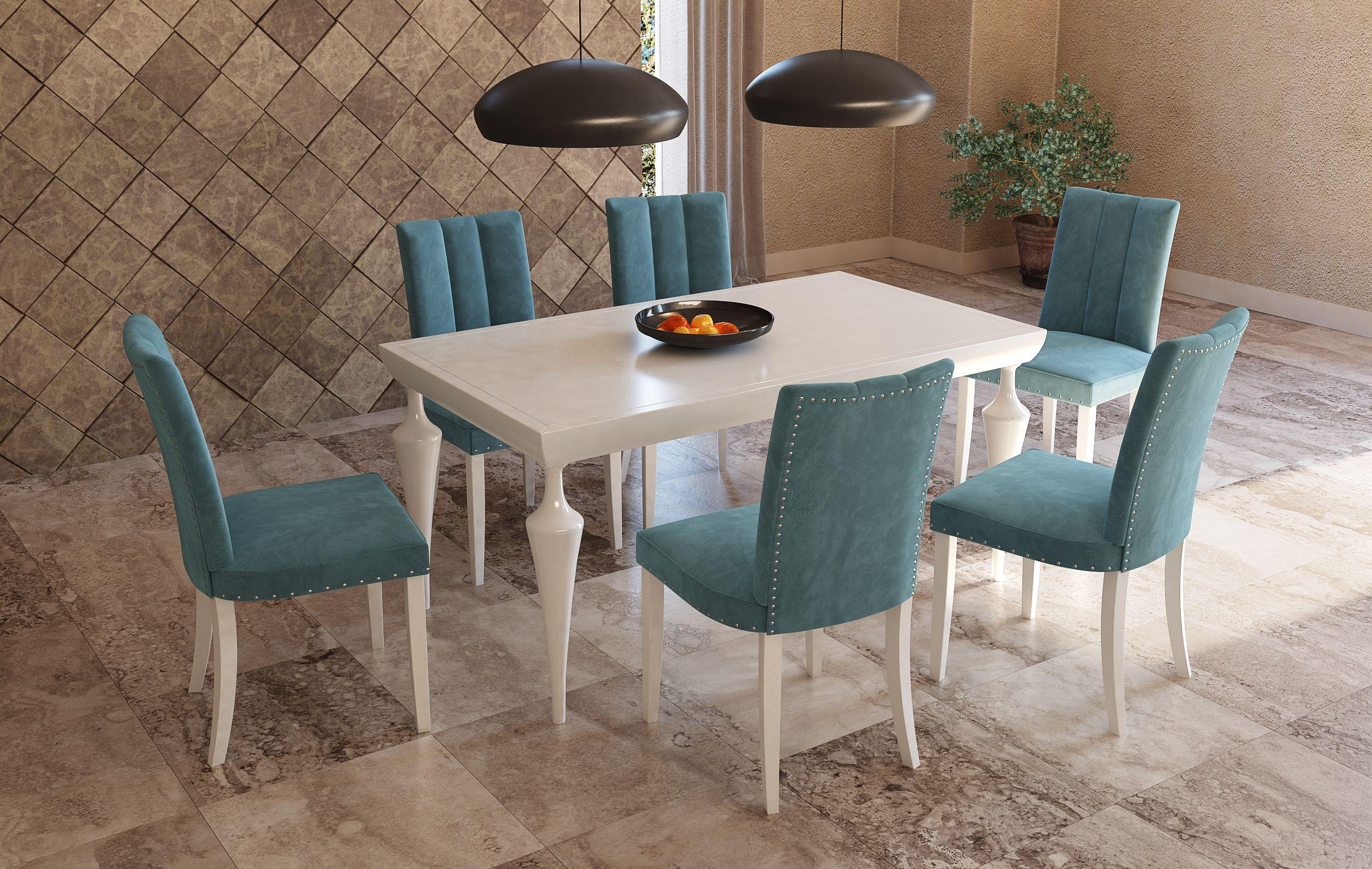 sillas de comedor blanco terciopelo