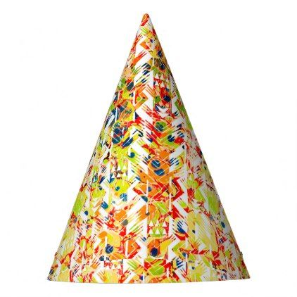 Cute Colorful Spring Abstract Pattern Party Hat  Pattern Sample