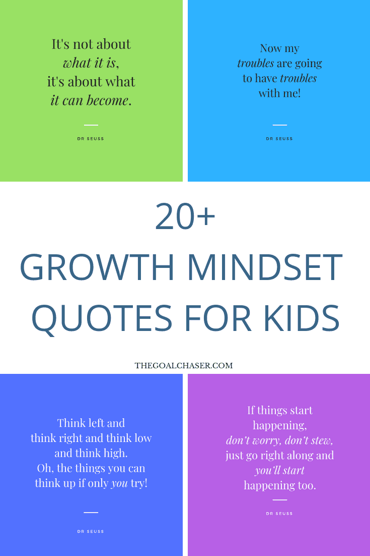 Growth Mindset Quotes for Kids   from Dr Seuss! is part of Growth mindset quotes, Mindset quotes, Quotes for kids, Growth mindset goals, Growth mindset, Growth mindset posters - Growth Mindset quotes for kids Imagine empowering your kids with a growth mindset   how to deal with challenges and obstacles, the importance of continued lear