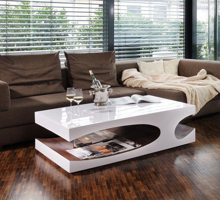 Couchtisch Wohnzimmertisch Designertisch Weiß Hochglanz Walnuss Extravagant  Neu In Möbel U0026 Wohnen, Möbel, Tische