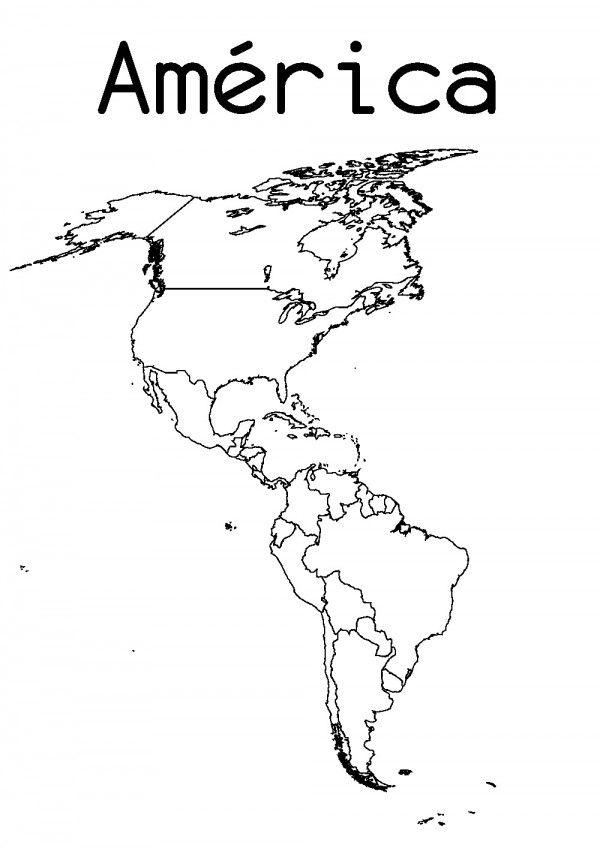 Dibujo Mapa Del Mundo Continentes.Dibujos De Mapas De America Y Paises Para Colorear