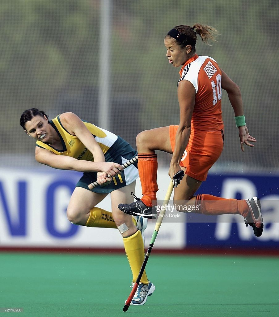 Emily Halliday L Of Australia Is Tackled By Sylvia Karres Of The Netherlands In The Final Of The Womens Field Hockey World Cup Competition At The Club De Camp