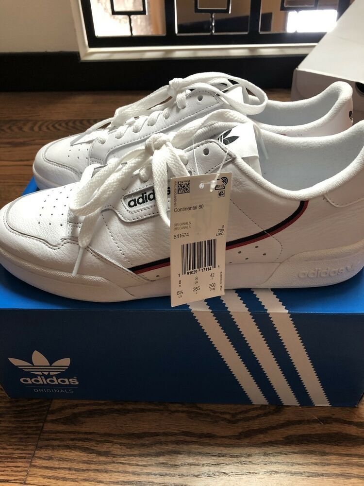 Adidas Continental 80 White Color B41674 Mens Sneakers