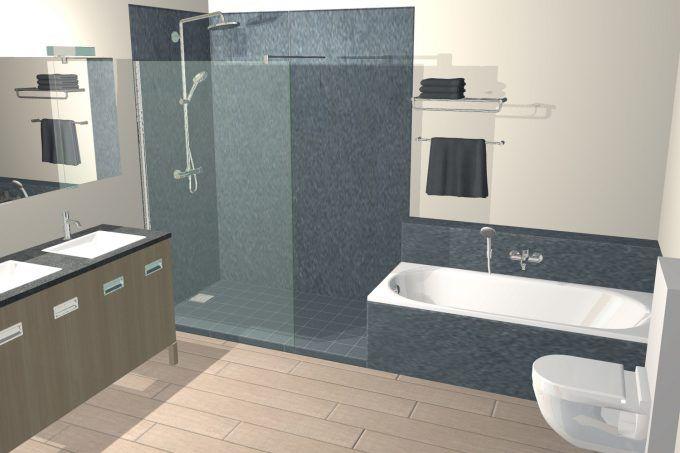 Klassieke badkamer met ligbad en inloopdouche 3d for Inrichting badkamer 3d